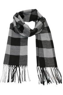 Fular, pentru barbati, in carouri Check, pentru perioada rece, cu franjuri, gri , ZS-4-4, Adamin