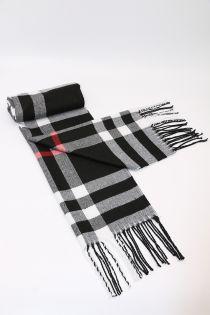 Fular in carouri mari Glen, pentru perioada rece, cu franjuri, negru, ZS-5-1, Adelin