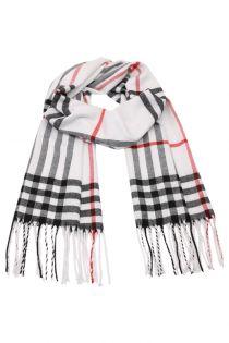 Fular in carouri Glen, pentru perioada rece, cu franjuri, alb, ZS-9-6, Aeron