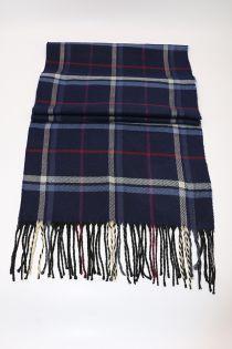 Fular pentru barbati, in carouri tip madras linii mici, pentru perioada rece, cu franjuri, albastru, ZS-6-1 Adolf