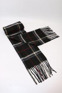 Fular pentru barbati, in carouri tip madras linii mici, pentru perioada rece, cu franjuri, negru, ZS-6-2 Adolf