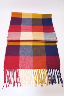 Fular in carouri Check , pentru perioada rece, cu franjuri, galben/rosu, ZS-8-1 Aedan