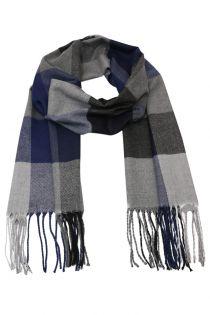 Fular in carouri Check , pentru perioada rece, cu franjuri, albastru, ZS-8-2 Aedan