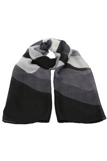 Esarfa pentru femei, din polyester subtire, primavara toamna, negru gri cu print color block