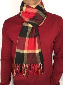 Fular pentru barbati in carouri, pentru perioada rece, cu franjuri, rosu, ZS-16-1, Albert