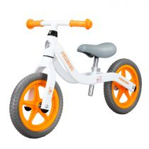 Bicicleta fara pedale (pedagogica) Forever Balance Bike, scaun reglabil, Alb/ Portocaliu