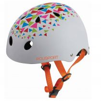 Casca de protectie POLISPORT URBAN TEEN TRIANGLES, alb/multicolor