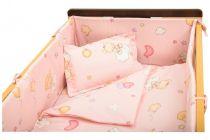 Garnitură de pat completă Amoraș 7 piese / Ursuleți cu balonașe roz 130 x 70 cm