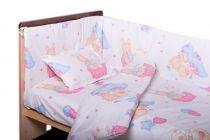 Garnitură de pat completă Amoraș 7 piese / Ursulet cu prieteni, roz