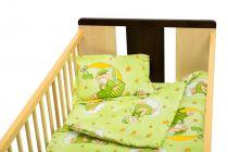 Set de pat Nani cu pilotă, 4 piese, ursuleți cu lună, verde