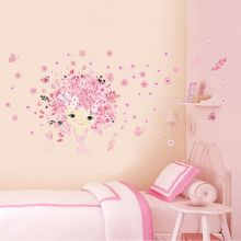 Sticker perete Flower Girl Pink