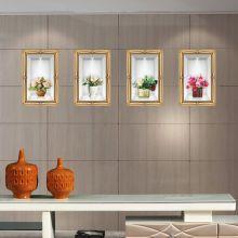 Sticker perete Ghiveci cu Flori Vintage 4 buc/set