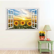 Sticker perete Sunflower 3D Window