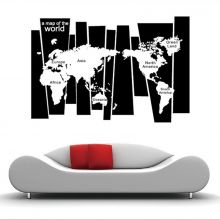 Sticker perete World Map Black