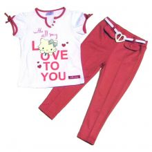 Set - Tricou maneci scurte - pantalon lung Charmmykitty Roz 4ani(104cm)