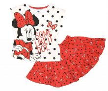 Set tricou MS + fusta MINNIE-Alb/Rosu