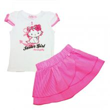 Set tricou+fusta KITTY-Roz Roz 3 ani(98cm)