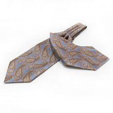 Cravata Ascot matase paisley turcoaz Turquoise