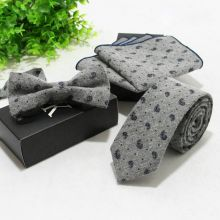 Set papion + cravata + batista sacou floral gri Grey Fendi