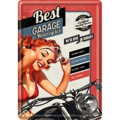 Carte postala metalica Best Garage - Red