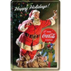 Carte postala metalica Coca-Cola Happy Holidays Santa