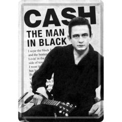 Carte postala metalica Johnny Cash the man in  black