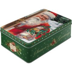 Cutie metalica plata Santa Clause-Season's Greetings