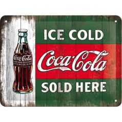 Placa metalica 15X20 Coca-Cola - Ice cold-Coca-Cola sold here