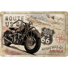 Placa metalica 20x30 Route 66 Bike Map