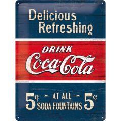 Placa metalica 30X40 Coca-Cola - Delicious Refreshing Blue