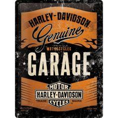 Placa metalica 30x40 Harley-Davidson Garage - negru metalizat