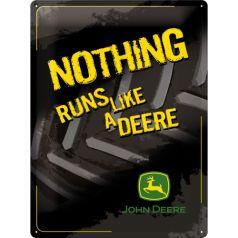Placa metalica 30X40 John Deere - Nothing Runs Like a Deere - Black