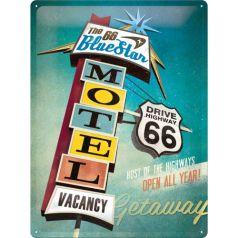 Placa metalica 30X40 The 66 Blue Star Motel