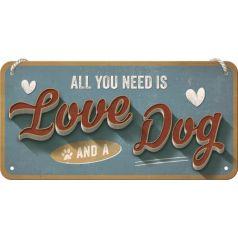 Placa metalica cu snur 10x20 Love Dog