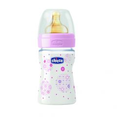 Biberon Chicco WB Biberon PP, roz, 150ml, t.c., flux normal, 0luni+, 0% BPA