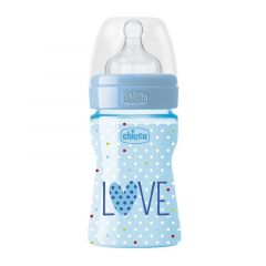 Biberon Chicco WellBeing Love Edition, PP, 150ml, tetina silicon, flux normal, Boy, 0%BPA, 0luni+