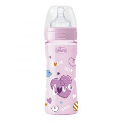 Biberon Chicco WellBeing Love Edition, PP, 250ml, tetina silicon, flux rapid, Girl, 0%BPA, 2luni+