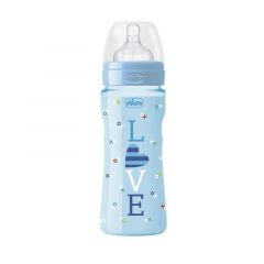 Biberon Chicco WellBeing Love Edition, PP, 330ml, tetina silicon, flux rapid, Boy, 0%BPA, 4luni+