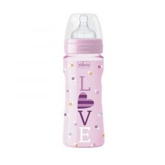 Biberon Chicco WellBeing Love Edition, PP, 330ml, tetina silicon, flux rapid, Girl, 0%BPA, 4luni+