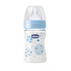 Biberon Chicco WellBeing PP, boy, 150ml, t.s., flux normal, 0+luni, 0%BPA