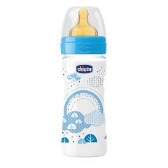 Biberon Chicco WellBeing PP, boy, 250ml, t.c., flux mediu, 2+luni, 0%BPA