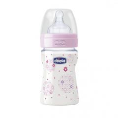 Biberon Chicco WellBeing PP, girl, 150ml, t.s., flux normal, 0+luni, 0%BPA