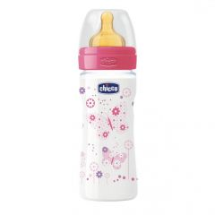 Biberon Chicco WellBeing PP, girl, 250ml, t.c., flux mediu, 2+luni, 0%BPA