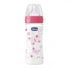 Biberon Chicco WellBeing PP, girl, 250ml, t.s., flux mediu, 2+luni, 0%BPA