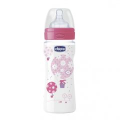 Biberon Chicco WellBeing PP, girl, 330ml, t.s., flux rapid, 4+luni, 0%BPA