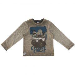 Bluza copii Chicco, maro cu model albastru, 128