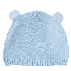 Caciulita bebe, tricotata, albastru cu roz, 1