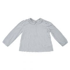 Camasa copii Chicco, maneca lunga, fete, alb cu bleumarin, 116