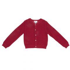 Cardigan pentru fetite Chicco, dantelat, rosu, 116