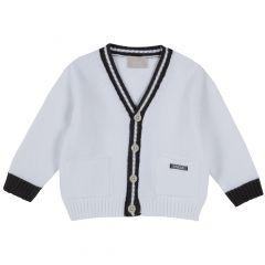 Cardigan copii Chicco, tricotat, alb, 74